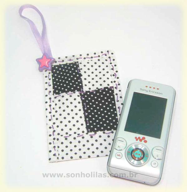 porta celular tecido patchwork